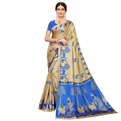 Trendy Beige-Blue Colored Casual Printed Khadi Silk Saree