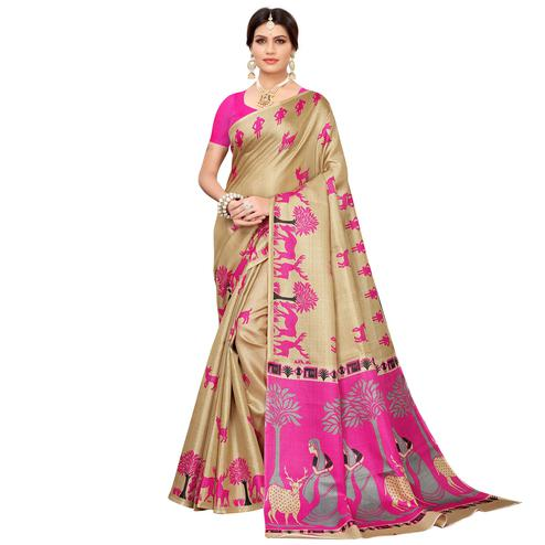 Elegant Beige-Pink Colored Casual Printed Khadi Silk Saree