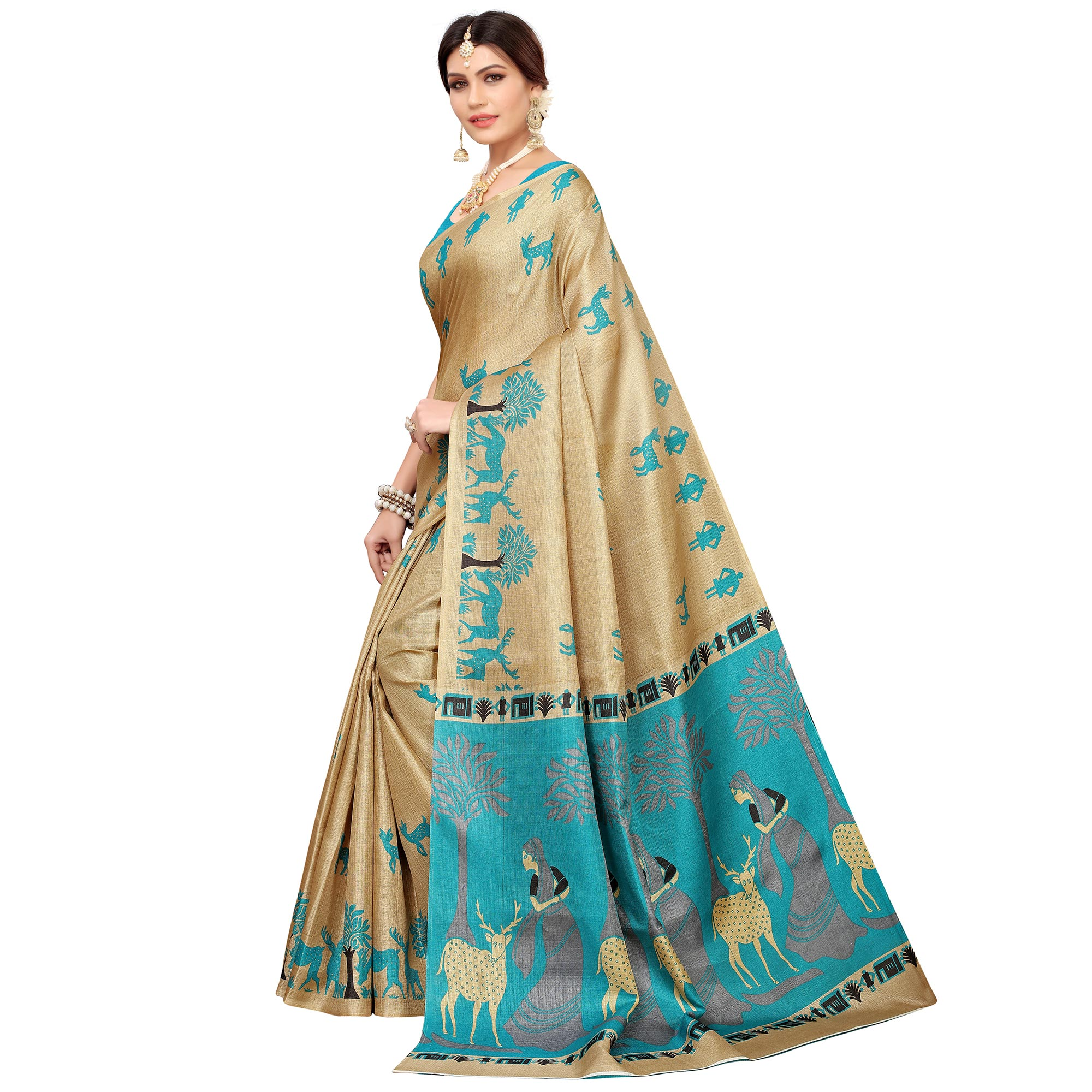 Pleasant Beige-Turquoise Blue Colored Casual Printed Khadi Silk Saree