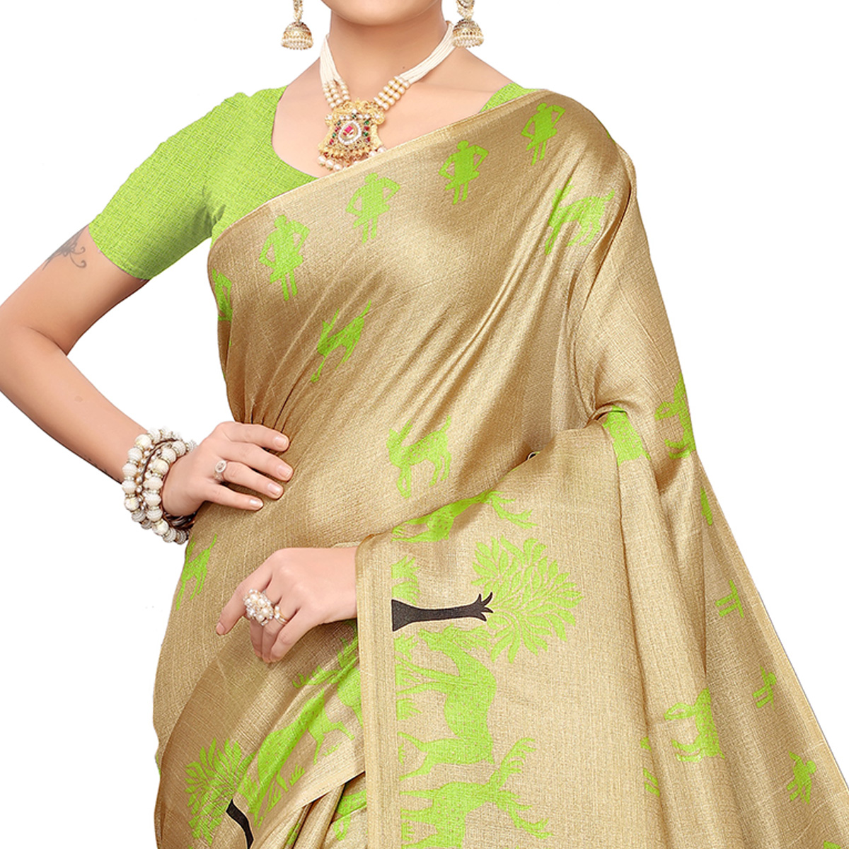 Radiant Beige-Green Colored Casual Printed Khadi Silk Saree