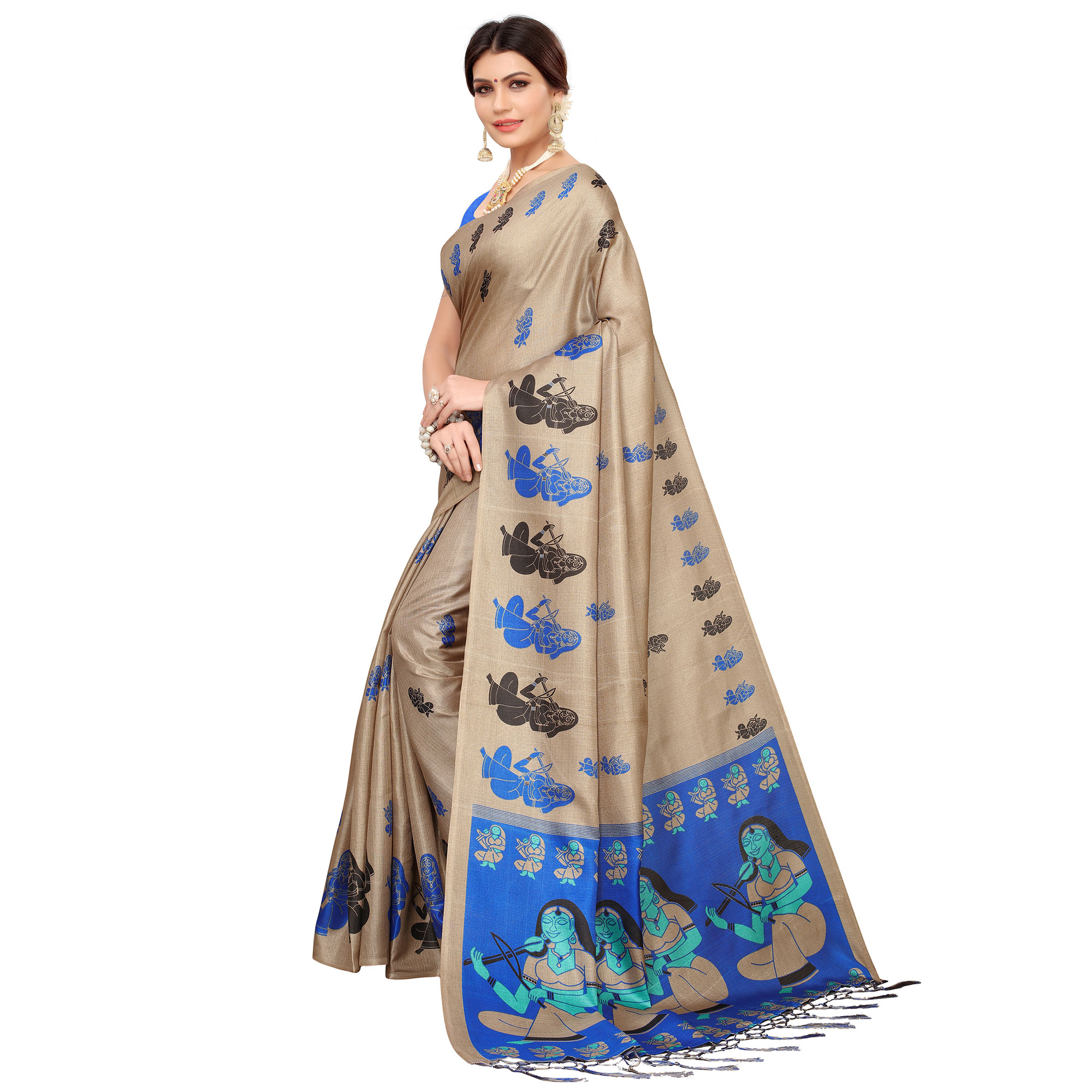 Unique Beige-Blue Colored Festive Wear Khadi Silk Saree