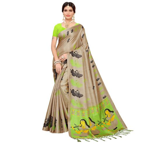 Demanding Beige-Green Colored Festive Wear Khadi Silk Saree