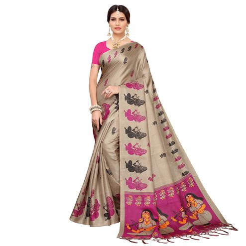 Magnetic Beige-Dark Pink Colored Festive Wear Khadi Silk Saree