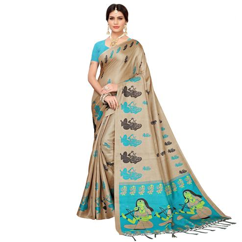 Hypnotic Beige-Turquoise Blue Colored Festive Wear Khadi Silk Saree