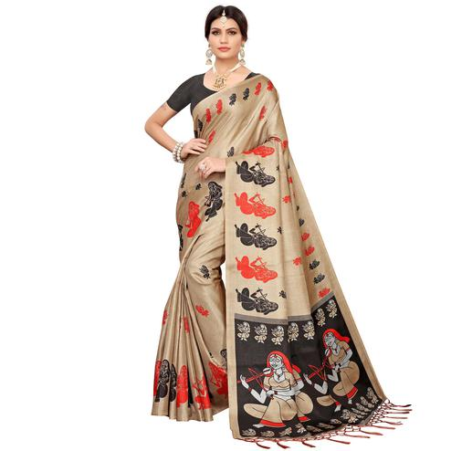 Flattering Beige-Black Colored Festive Wear Khadi Silk Saree