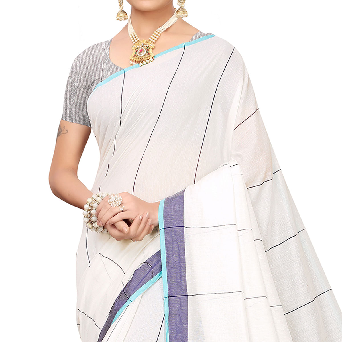 Entrancing White-Navy Blue Colored Festive Wear Linen Saree
