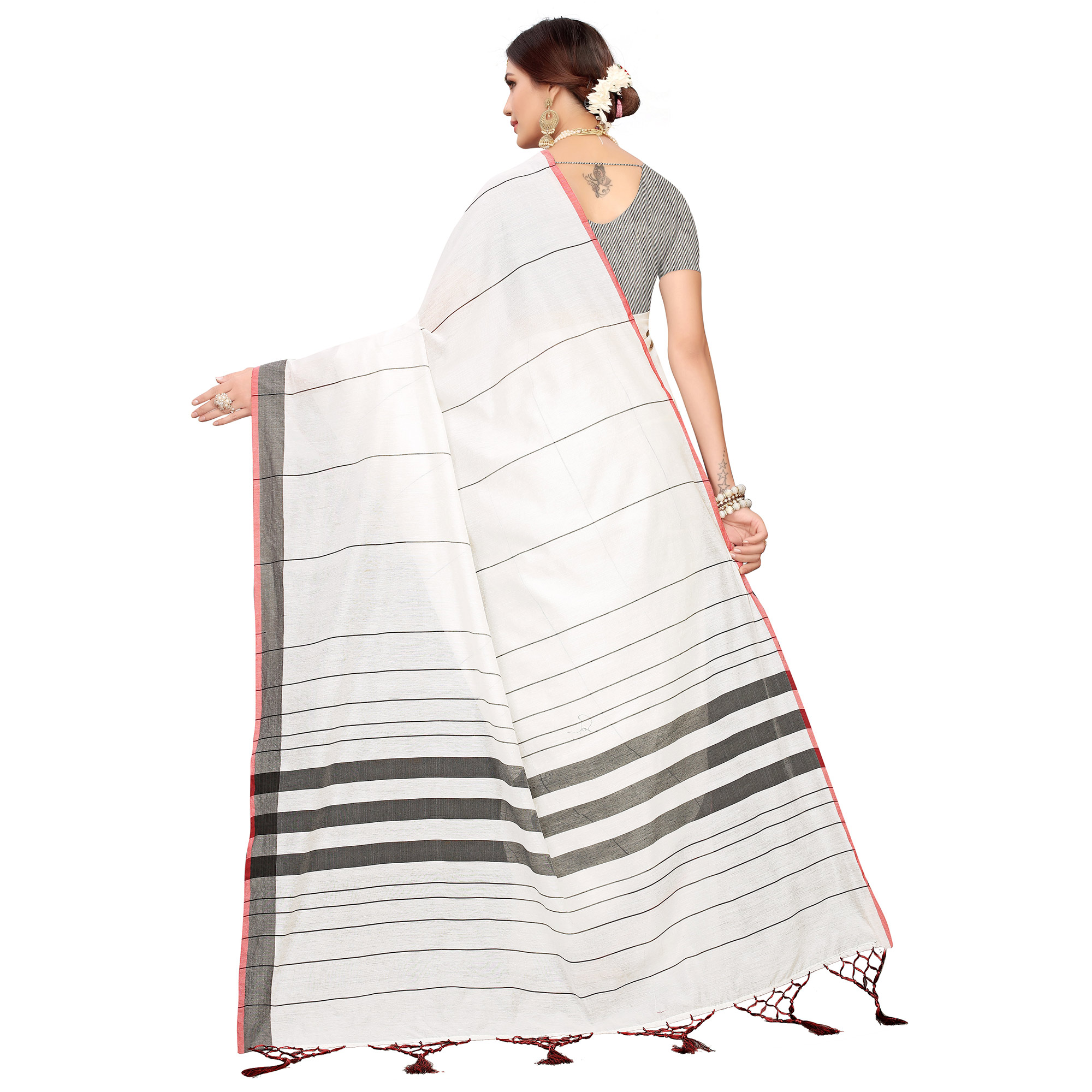 Groovy White-Black Colored Festive Wear Linen Saree