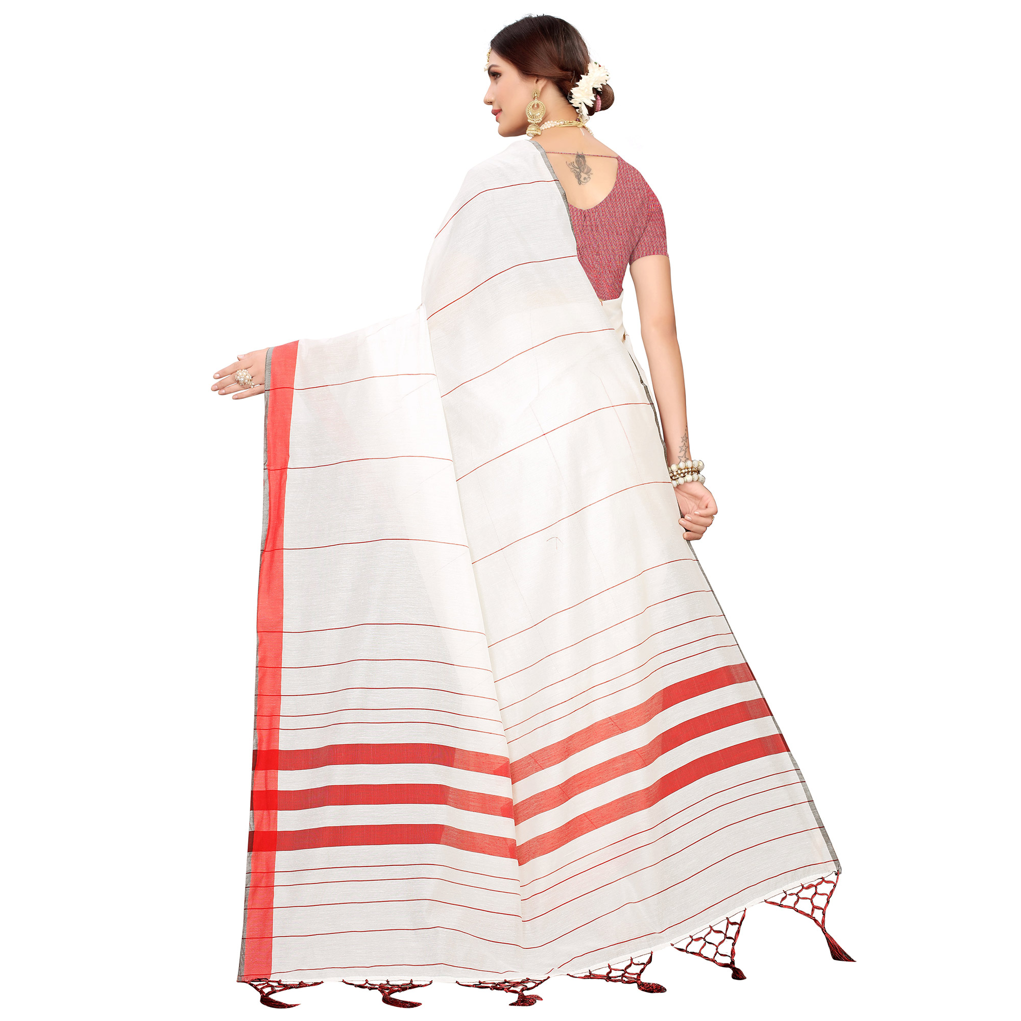 Prominent White-Red Colored Festive Wear Linen Saree