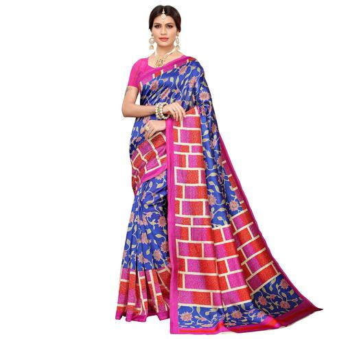 Flamboyant Blue Colored Casual Printed Mysore Silk Saree