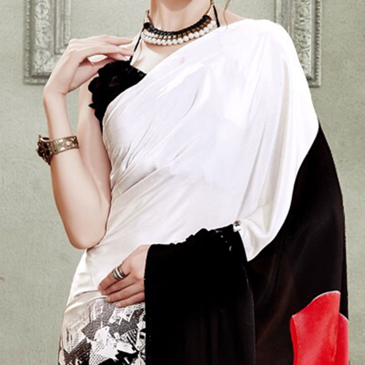 Off White - Black Printed Saree