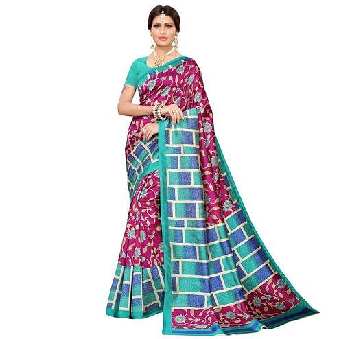 Alluring Pink Colored Casual Printed Mysore Silk Saree