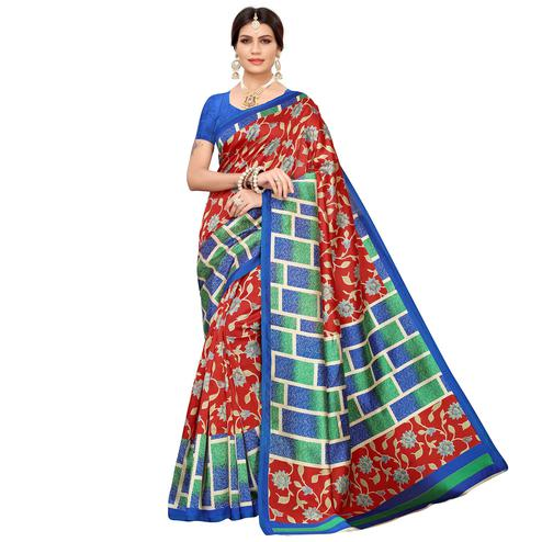 Sensational Maroon Colored Casual Printed Mysore Silk Saree