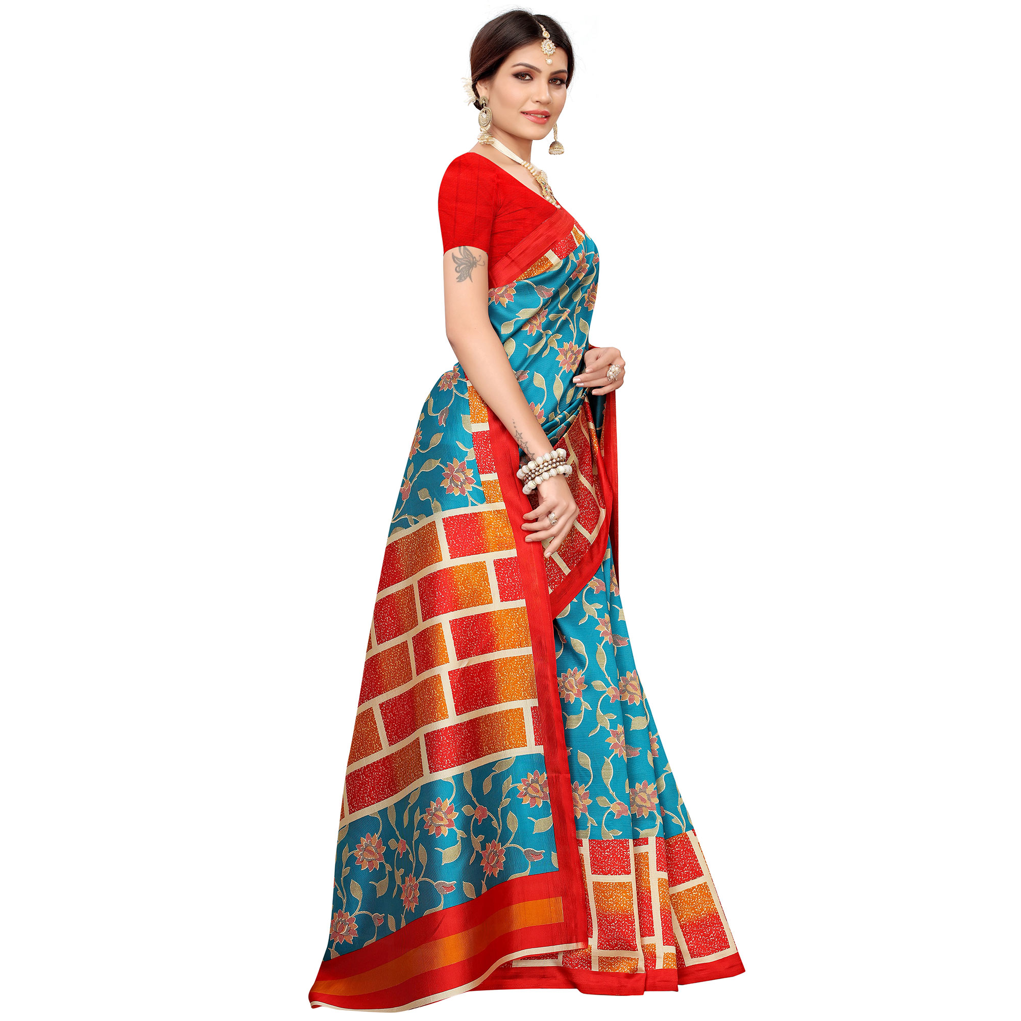 Flaunt Rama Blue Colored Casual Printed Mysore Silk Saree
