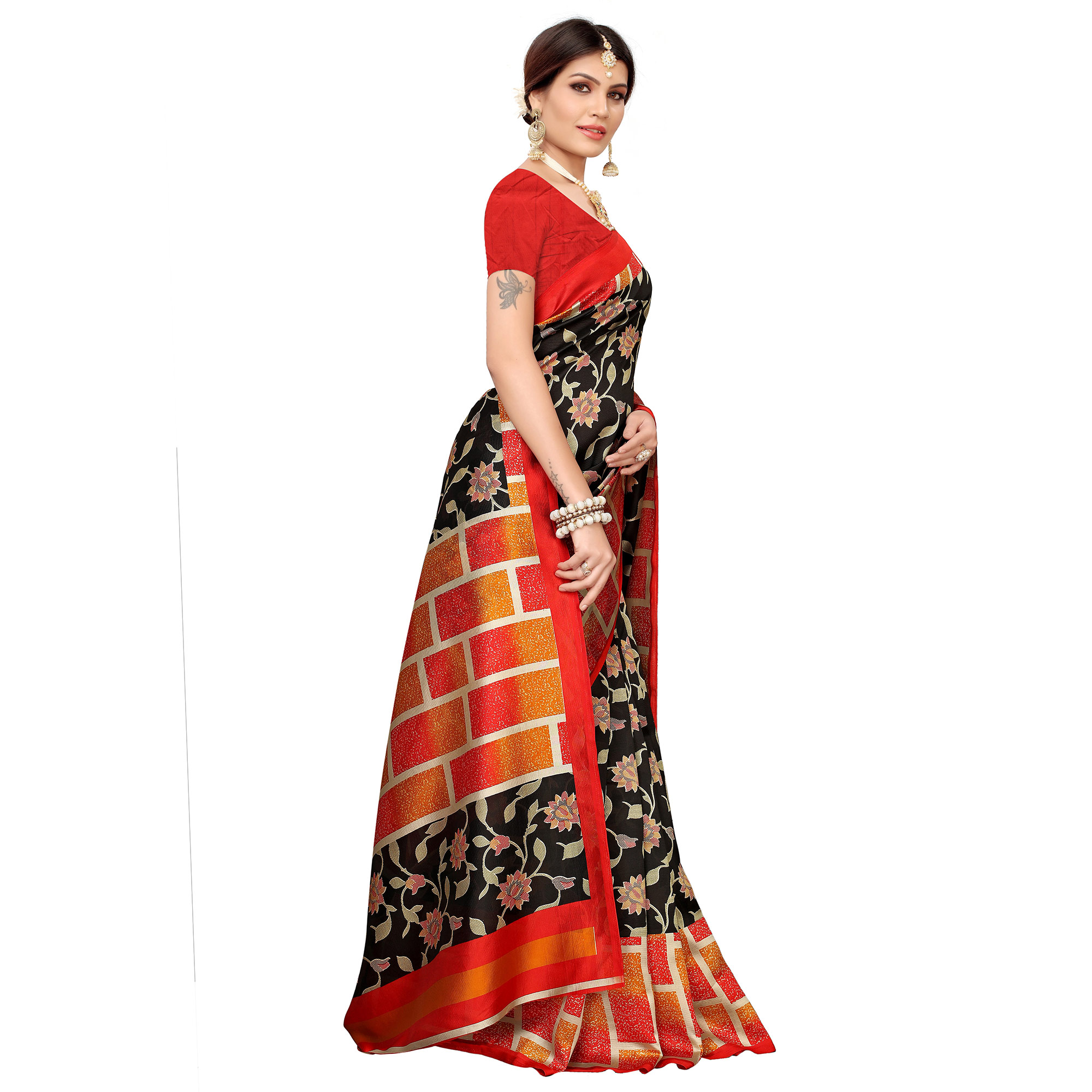 Stunning Black Colored Casual Printed Mysore Silk Saree