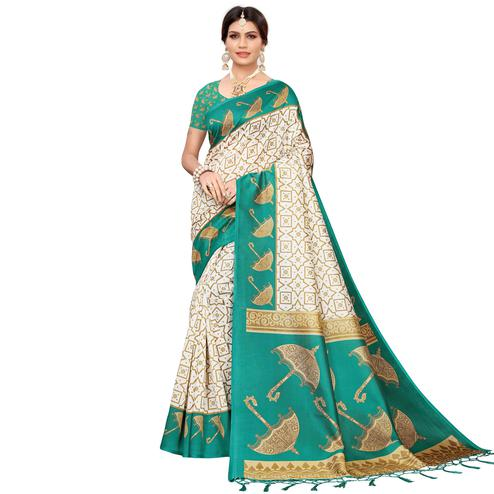 Delightful Off White-Turquoise Green Colored Festive Wear Mysore Silk Saree