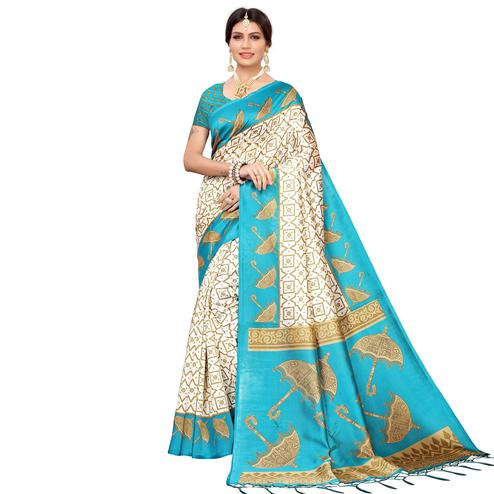 Engrossing Off White-Blue Colored Festive Wear Mysore Silk Saree