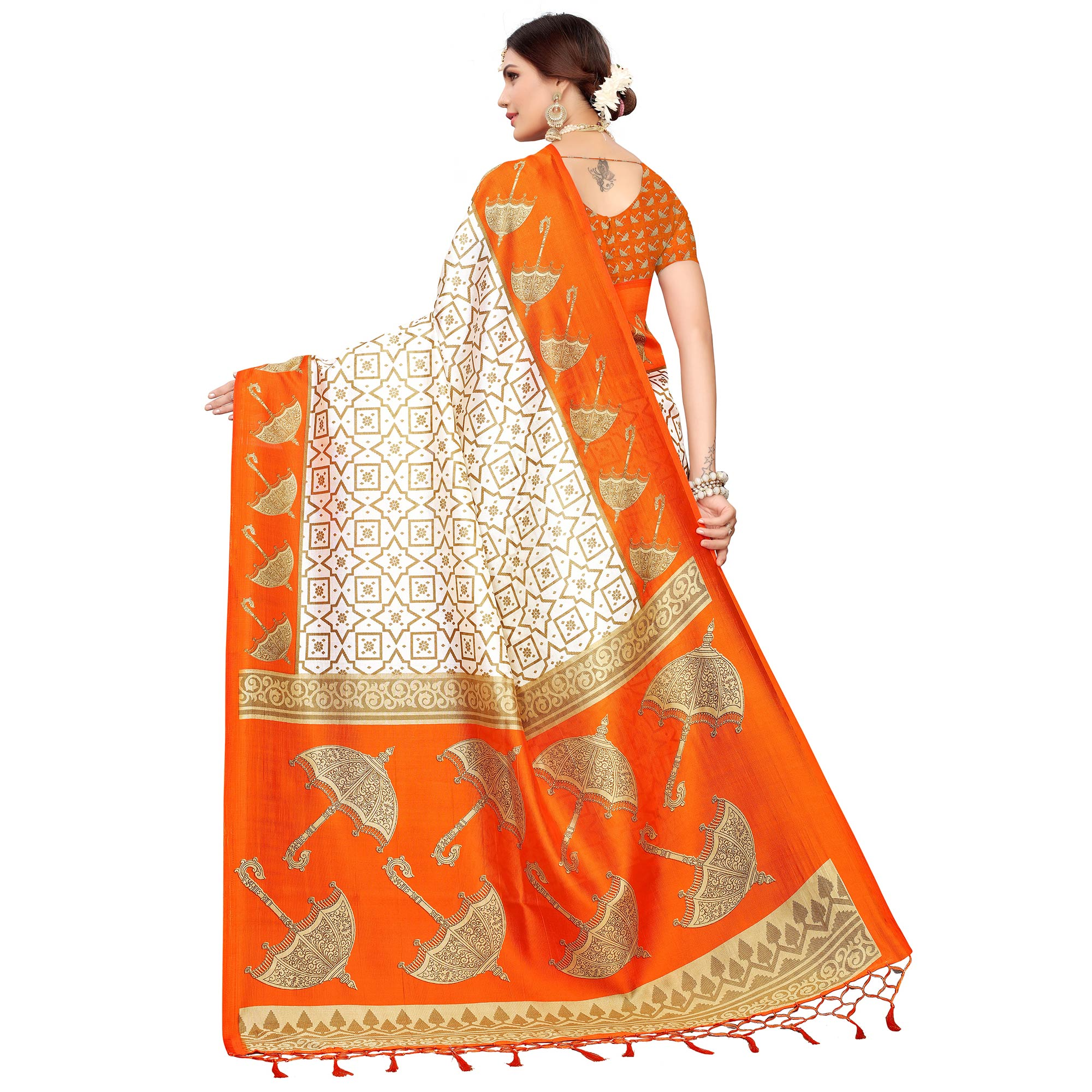 Captivating Off White-Orange Colored Festive Wear Mysore Silk Saree
