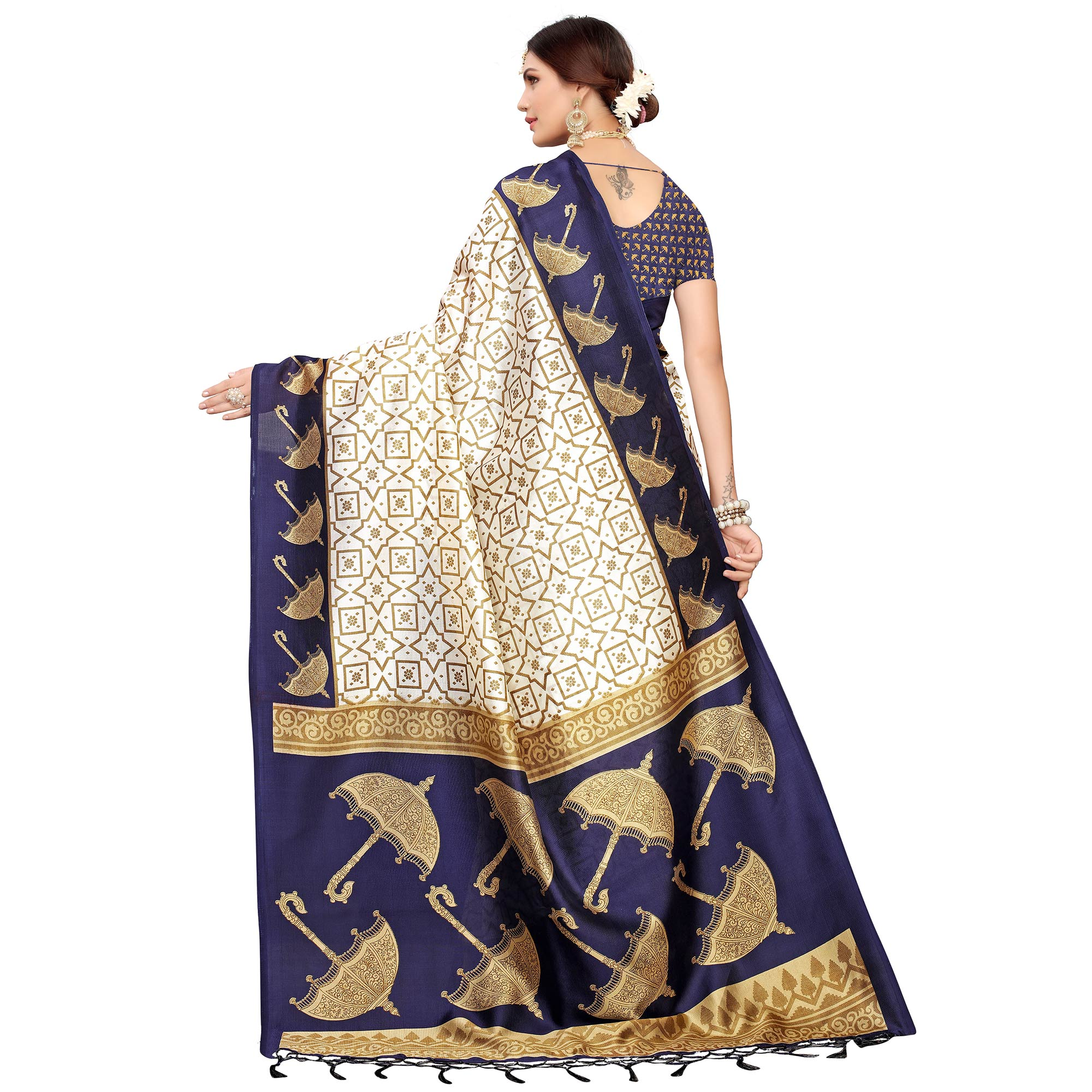 Innovative Off White-Navy Blue Colored Festive Wear Mysore Silk Saree