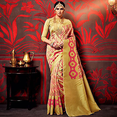 Light Golden - Peach Festive Wear Saree