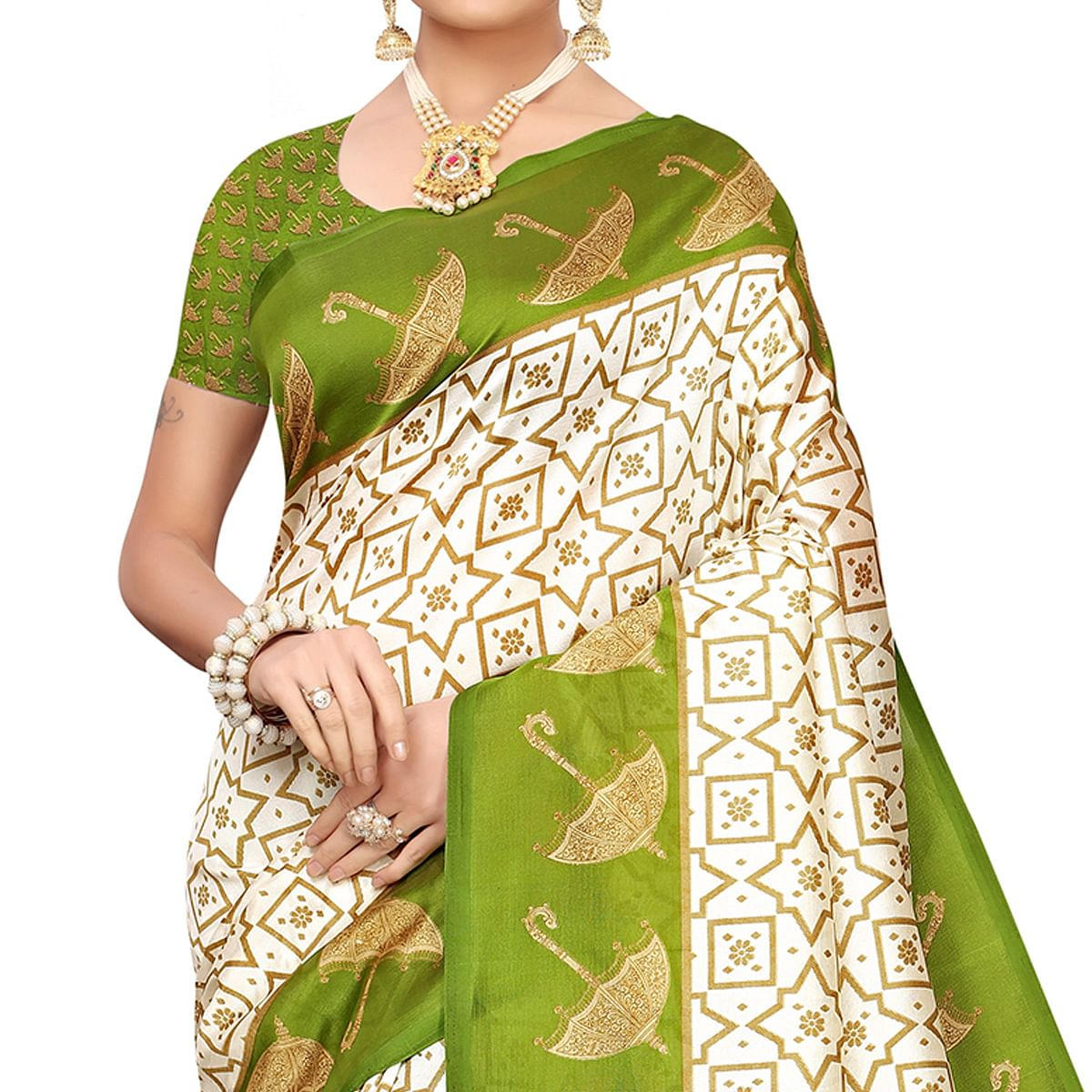 Eye-catching Off White-Green Colored Festive Wear Mysore Silk Saree