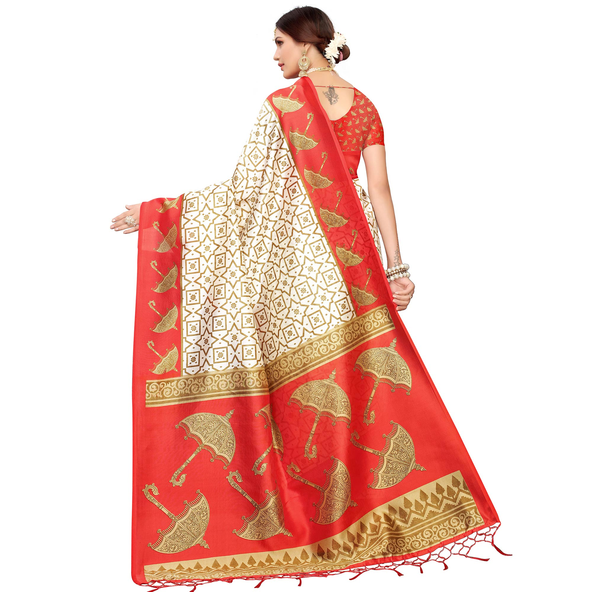 Fantastic Off White-Red Colored Festive Wear Mysore Silk Saree