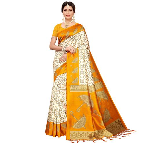 Amazing Off White-Light Orange Colored Festive Wear Mysore Silk Saree