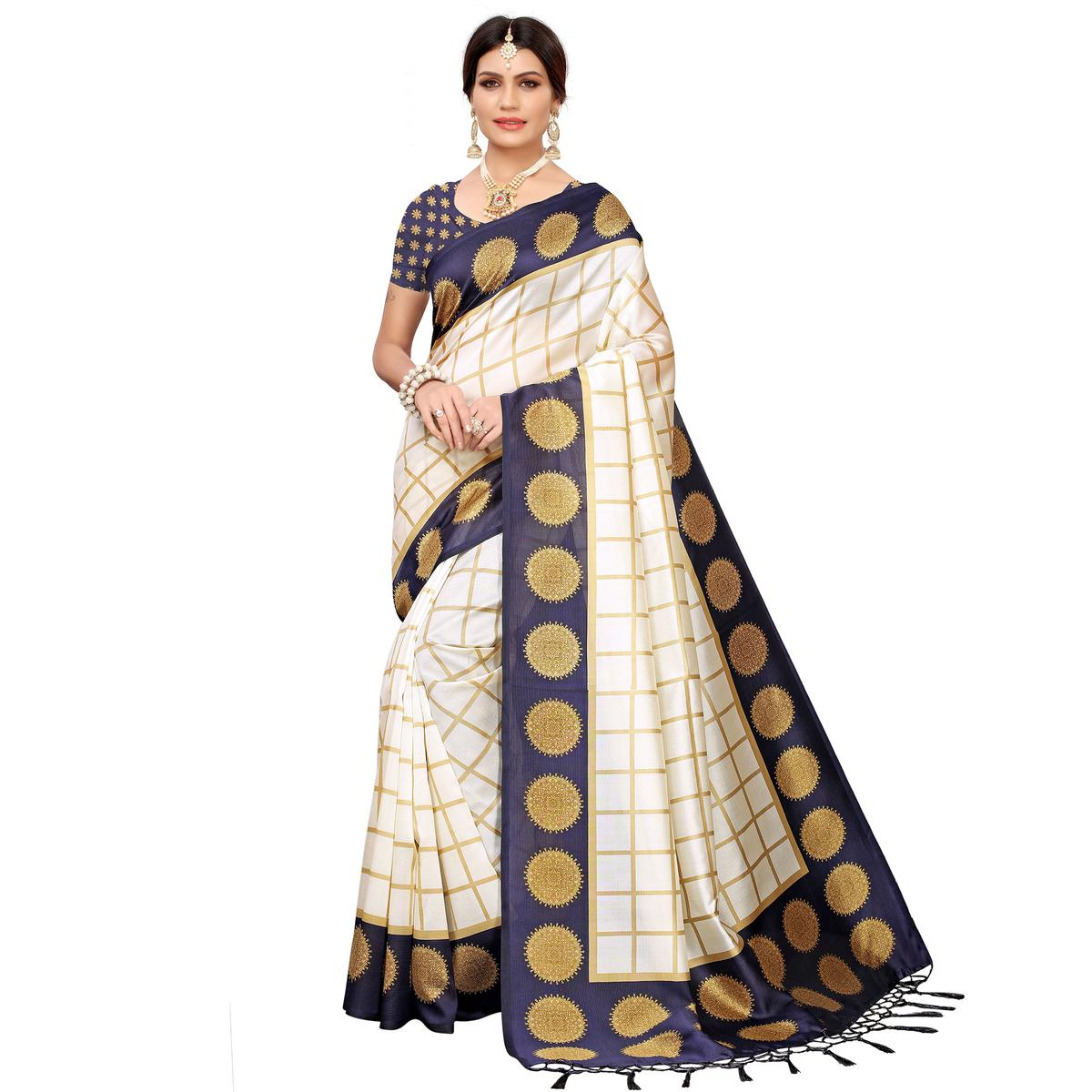 Gorgeous Off White-Navy Blue Colored Festive Wear Mysore Silk Saree