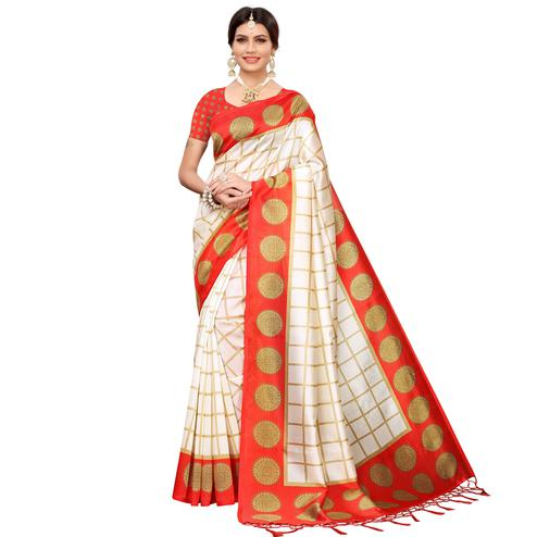 Blissful Off White-Red Colored Festive Wear Mysore Silk Saree