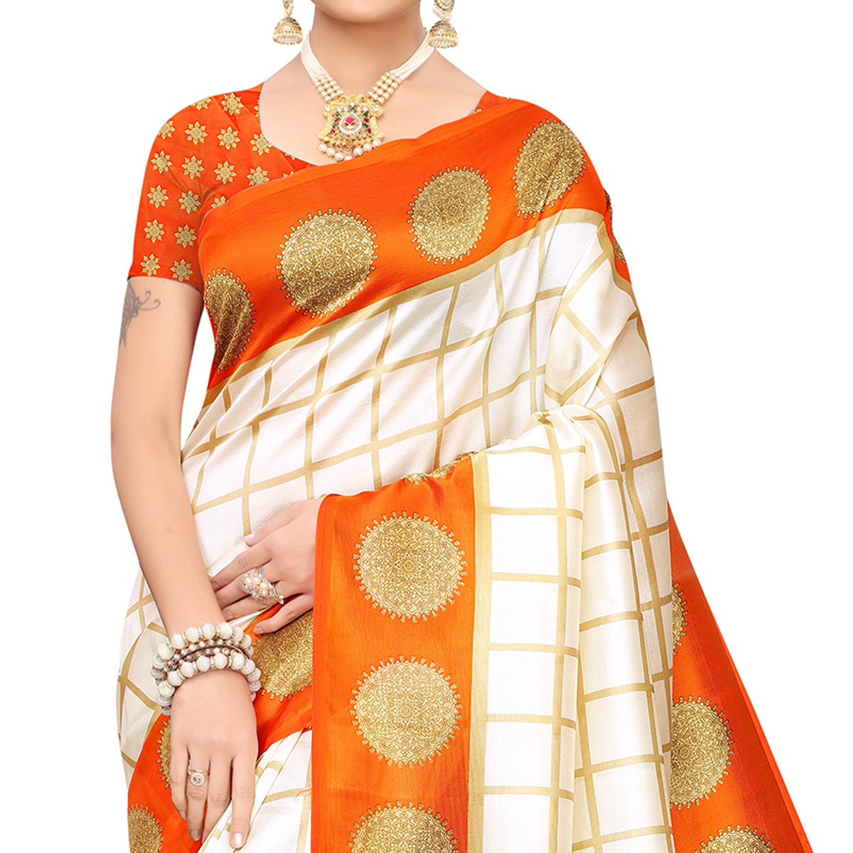 Ideal Off White-Orange Colored Festive Wear Mysore Silk Saree