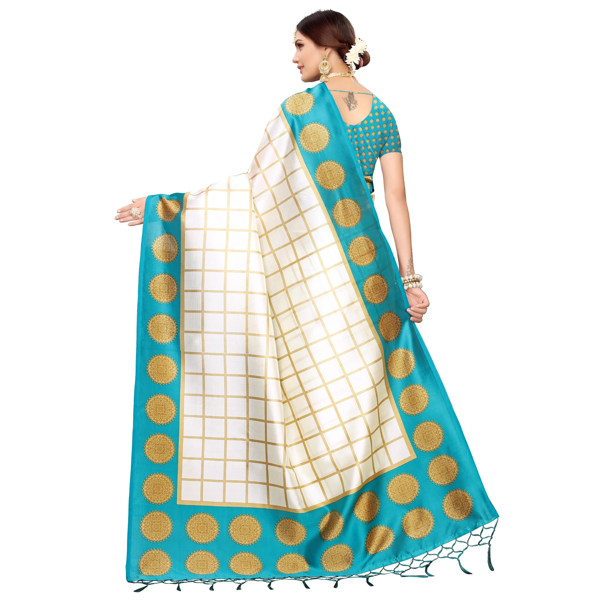 Imposing Off White-Blue Colored Festive Wear Mysore Silk Saree