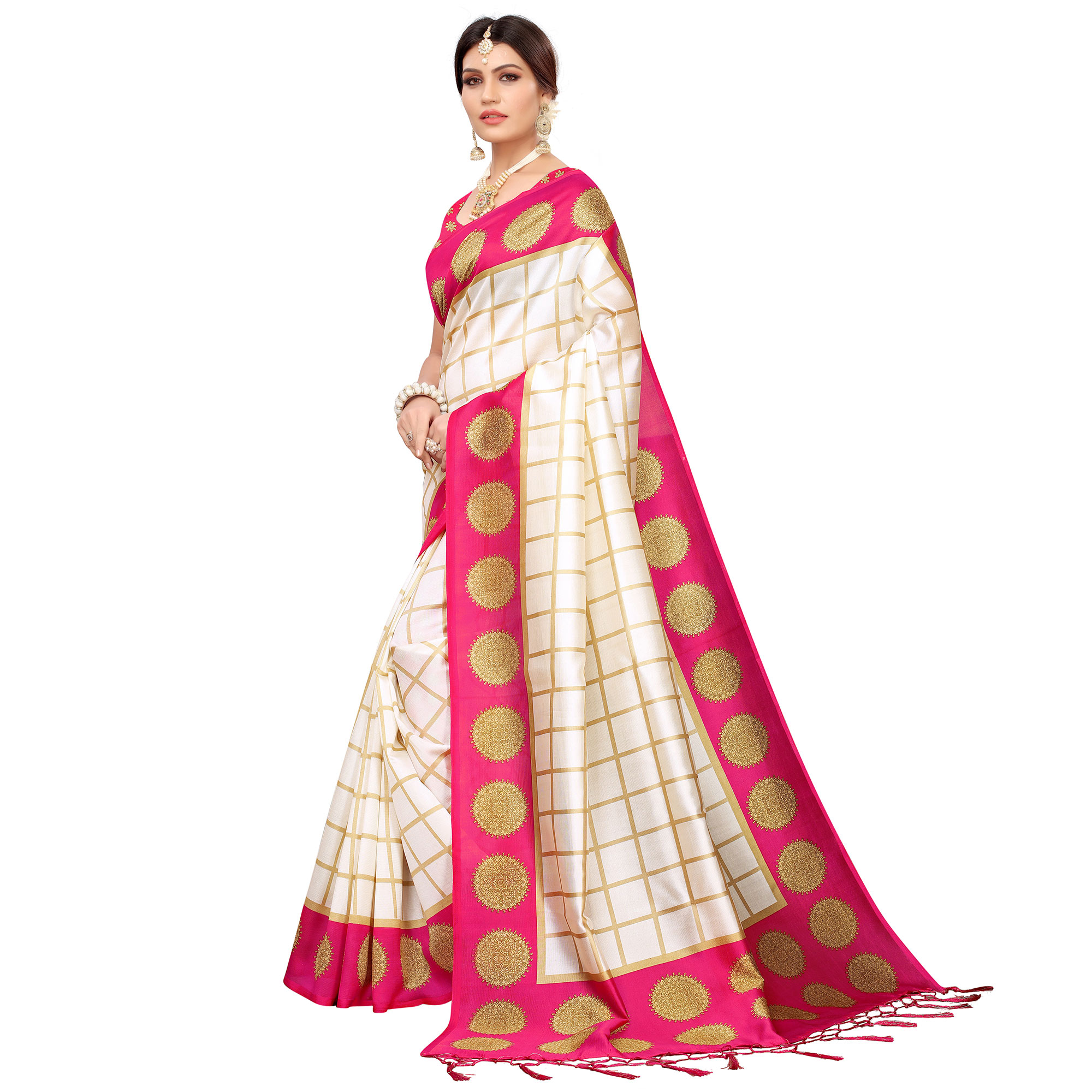 Lovely Off White-Pink Colored Festive Wear Mysore Silk Saree