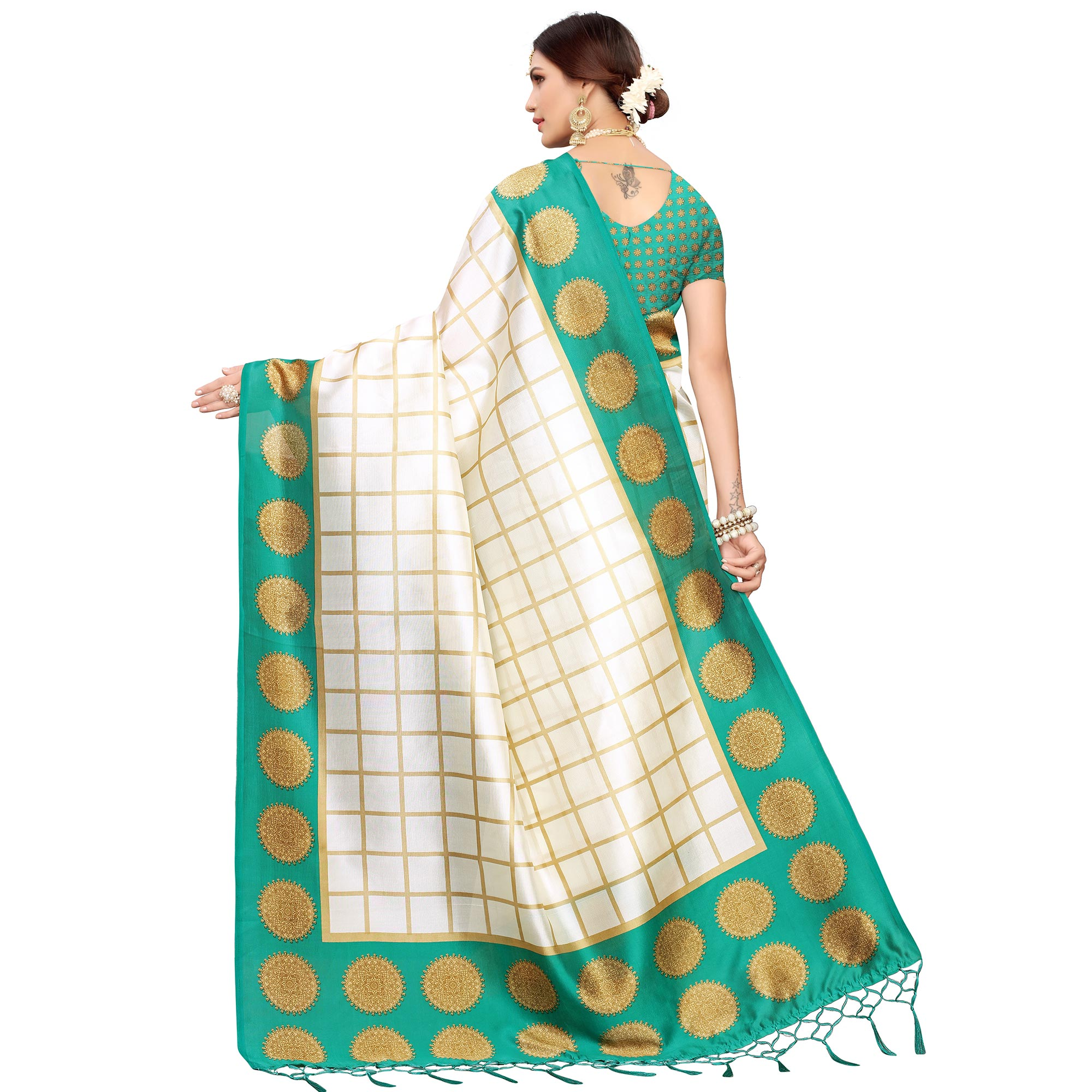 Majesty Off White-Turquoise Green Colored Festive Wear Mysore Silk Saree