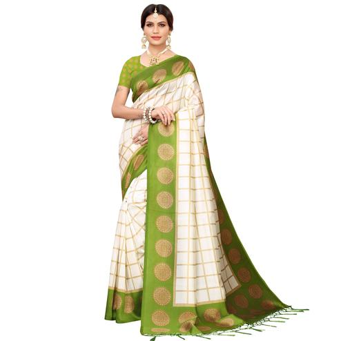 Impressive Off White-Olive Green Colored Festive Wear Mysore Silk Saree