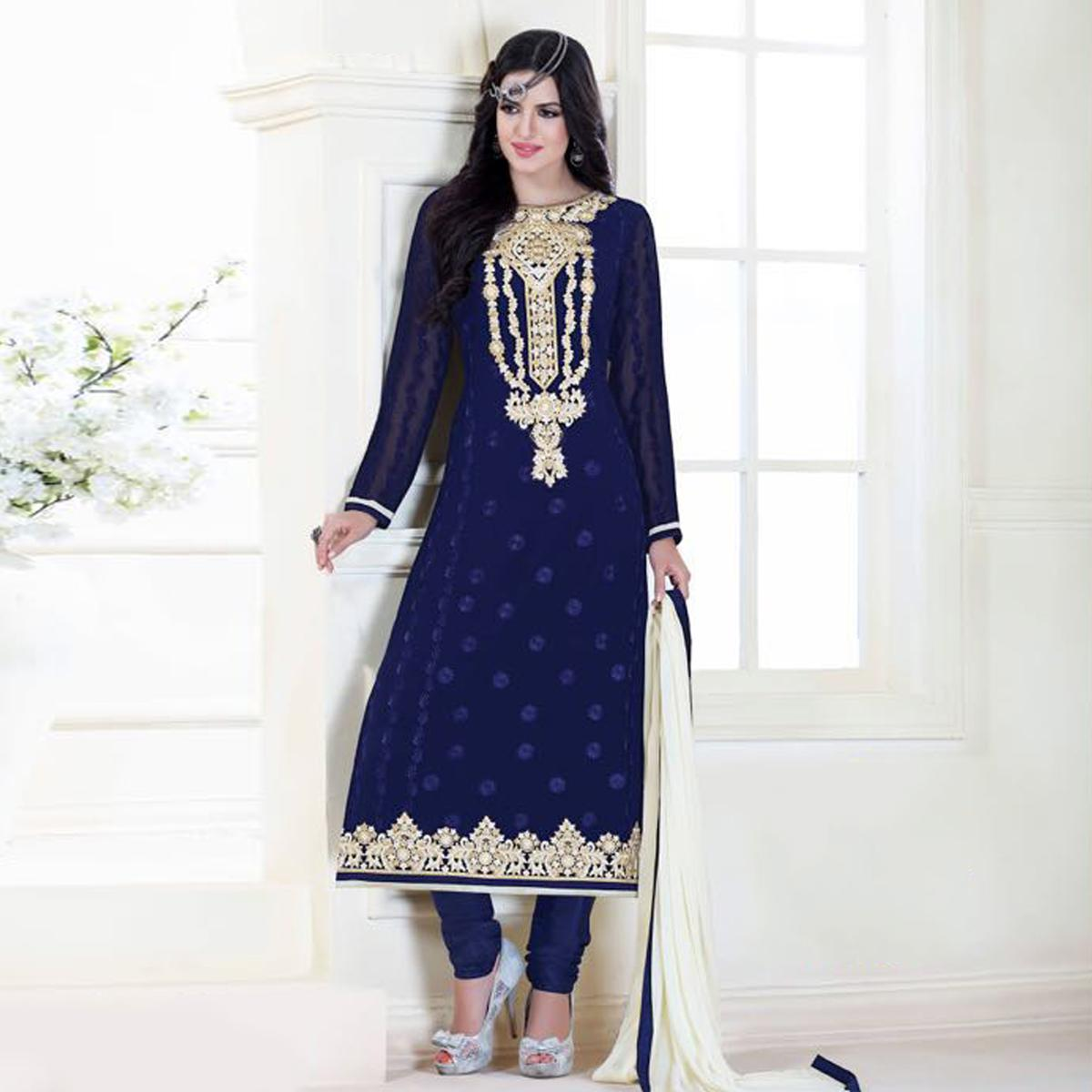 Navy Blue Colored Embroidered Suit