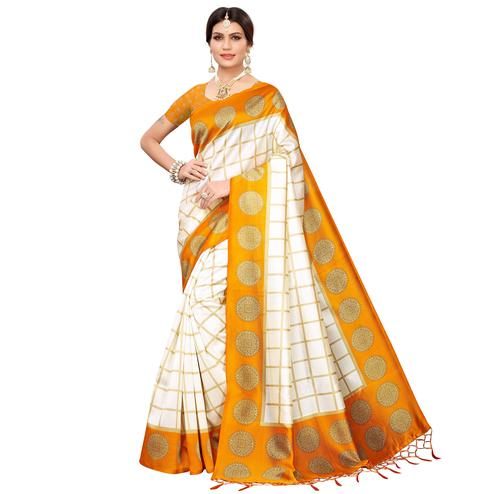 Mesmerising Off White-Light Orange Colored Festive Wear Mysore Silk Saree