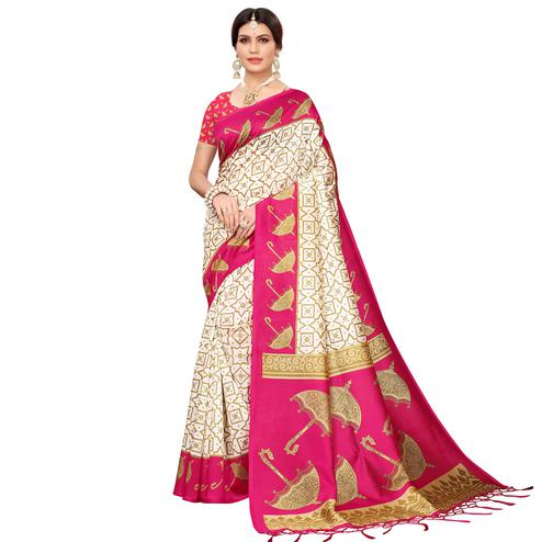 Pleasance Off White-Pink Colored Festive Wear Mysore Silk Saree