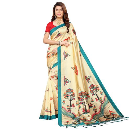 Breathtaking Beige-Blue Colored Festive Wear Mysore Silk Saree