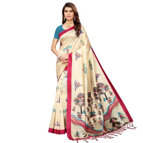 Ethnic Beige-Pink Colored Festive Wear Mysore Silk Saree