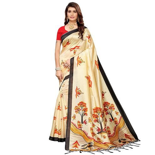 Ravishing Beige-Black Colored Festive Wear Mysore Silk Saree
