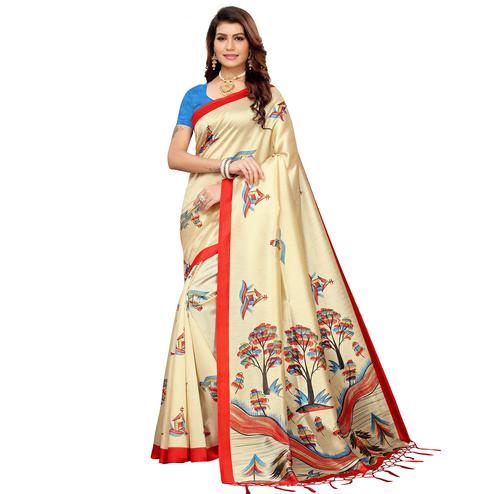 Staring Beige-Red Colored Festive Wear Mysore Silk Saree