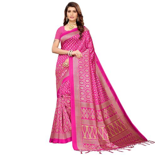 Dazzling Pink Colored Festive Wear Mysore Silk Saree