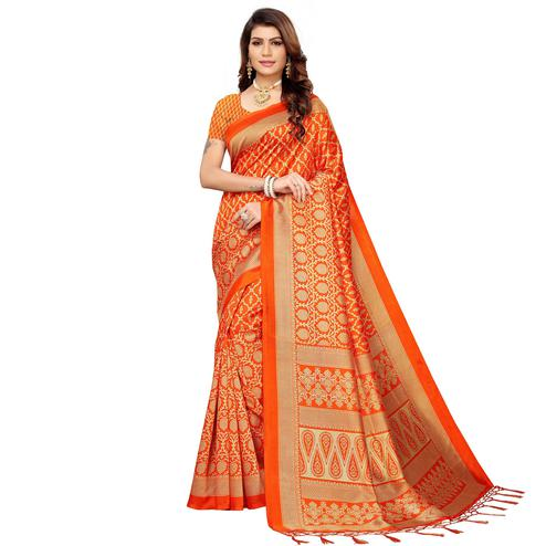 Surpassing Orange Colored Festive Wear Mysore Silk Saree