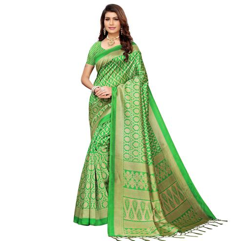 Arresting Green Colored Festive Wear Mysore Silk Saree