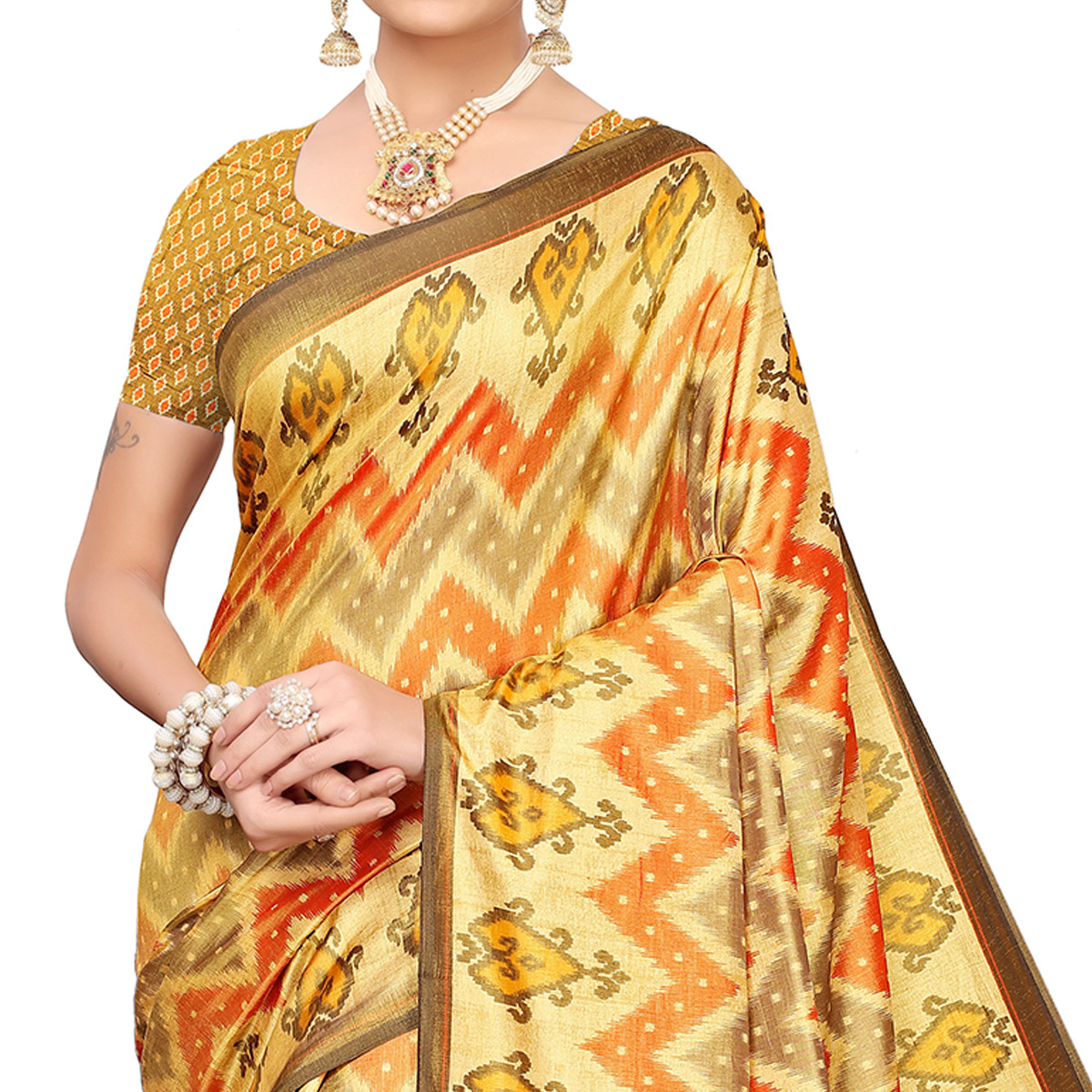 Demanding Yellow-Orange Colored Casual Printed Art Silk Saree