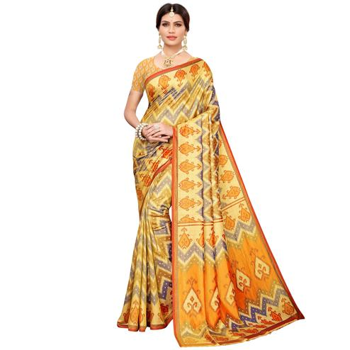 Refreshing Yellow-Gray Colored Casual Printed Art Silk Saree