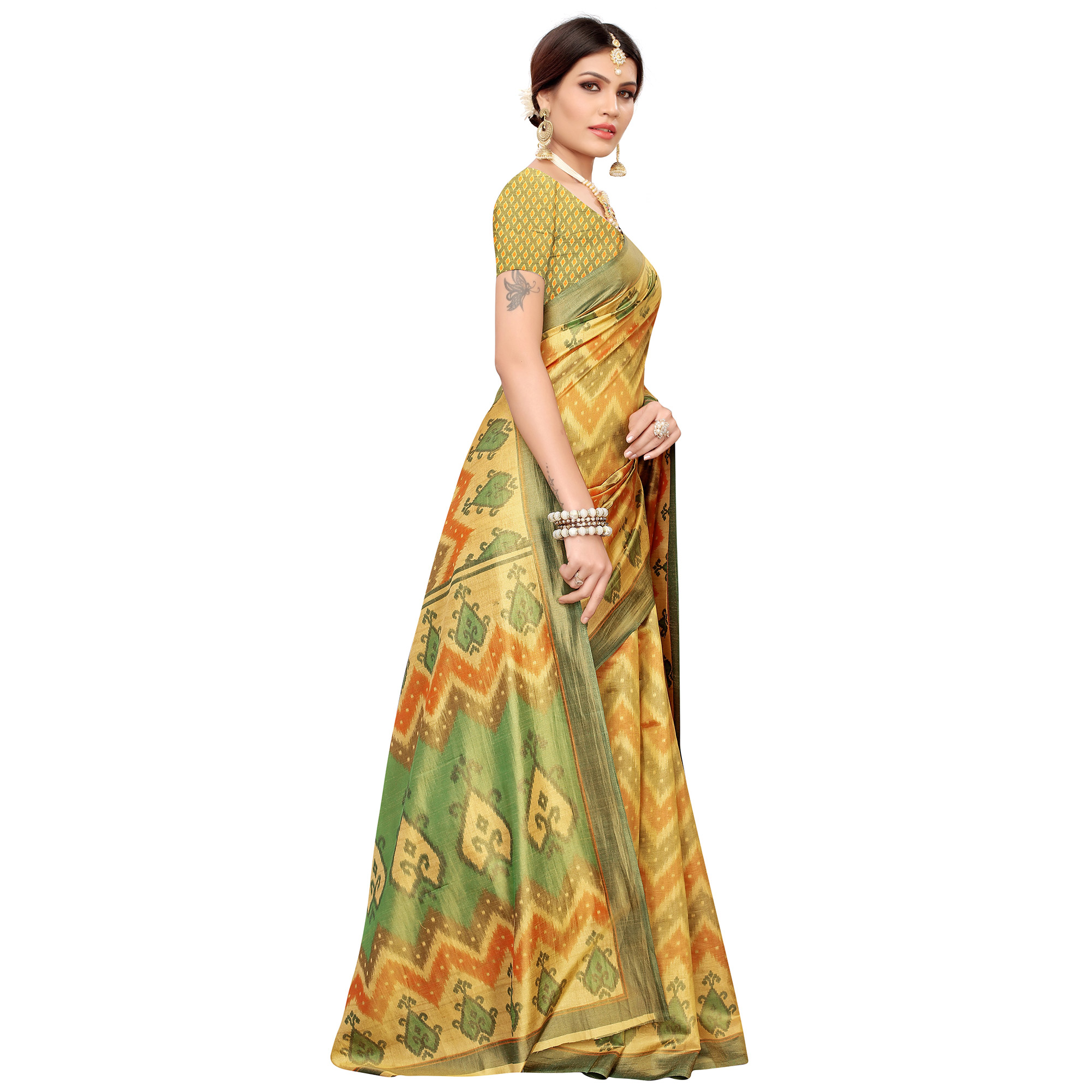 Magnetic Yellow-Green Colored Casual Printed Art Silk Saree