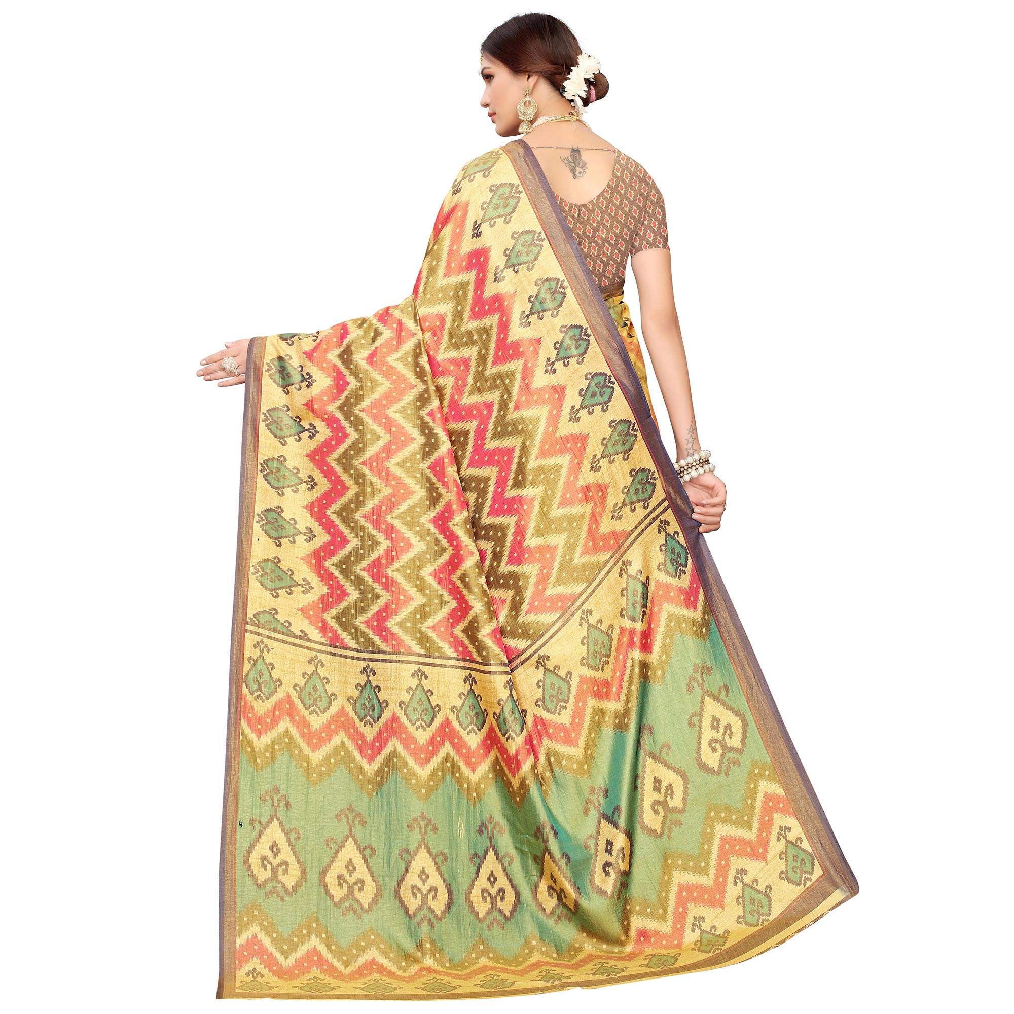 Hypnotic Yellow-Red Colored Casual Printed Art Silk Saree