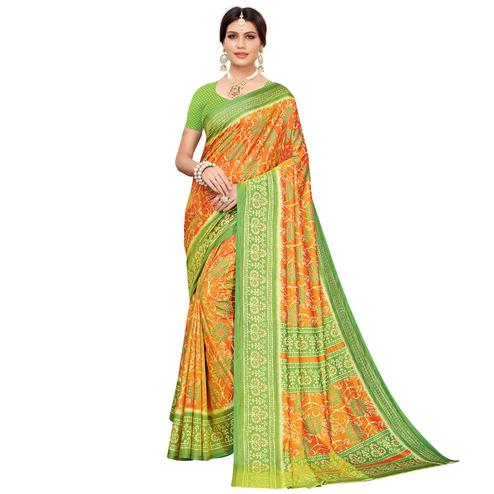 Flattering Orange Colored Casual Printed Art Silk Saree