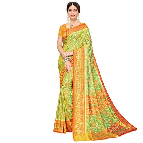 Excellent Green Colored Casual Printed Art Silk Saree