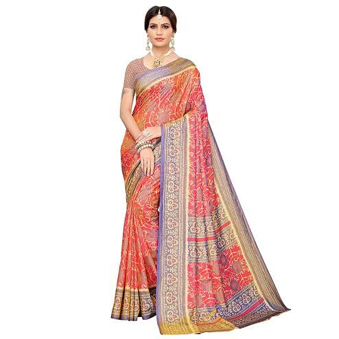 Preferable Pink Colored Casual Printed Art Silk Saree